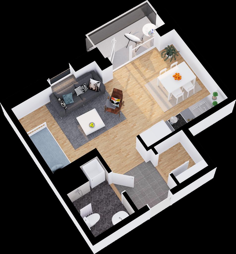 1 rum och kök