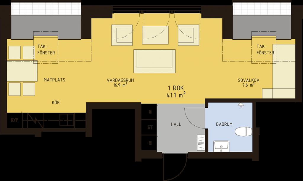 1 rum och kök 41,1 kvm